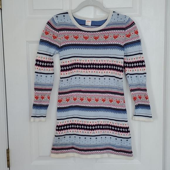 Gymboree girl's fox print sweater dress